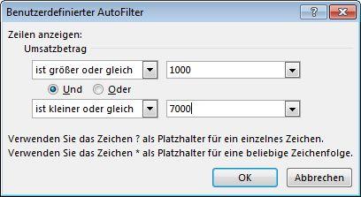 """Dialogfeld """"Benutzerdefinierter AutoFilter"""""""