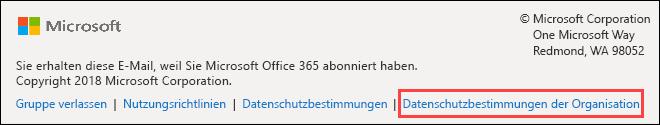 Office 365 Groups-Willkommensnachrichten-Fußzeile für Gäste
