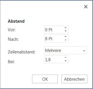 "Dialogfeld ""Absatz"""