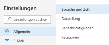 """Ein Screenshot des Menüs """"Sprache und Zeiteinstellungen"""""""