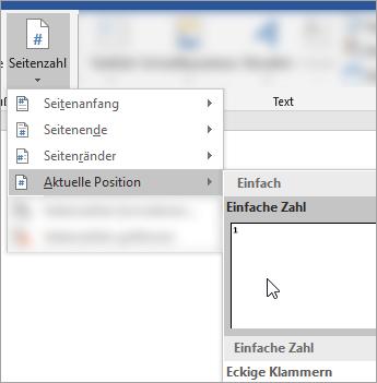 Screenshot, der die Auswahl der Seitenzahl im Normalformat an der aktuellen Position im Dokument zeigt