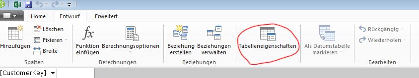 Menüband im PowerPivot-Fenster mit angezeigtem Befehl 'Tabelleneigenschaften'