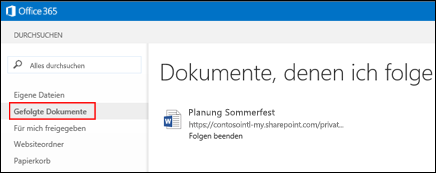 Screenshot der OneDrive for Business-Dokumente, den Sie in Office 365 folgen
