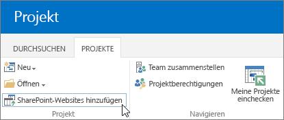 """Hinzufügen der Schaltfläche """"SharePoint-Websites"""" zum Menüband im Projektcenter"""