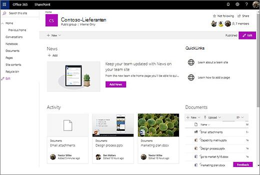Dies zeigt die Teamwebsite, nachdem Sie eine neue Office 365-Gruppe verbunden und Links zu ihrer alten Teamwebsite hinzugefügt haben.