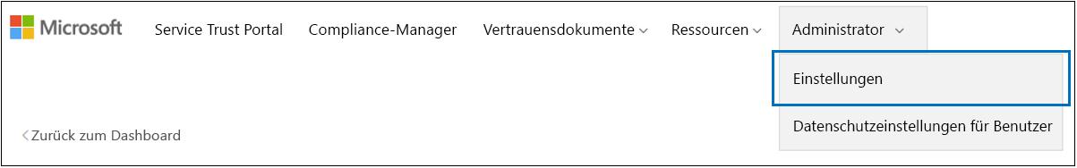 """STP-Menü für Administratoren – """"Einstellungen"""" ausgewählt"""