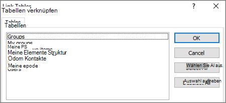 Eine Liste der vordefinierten Filter