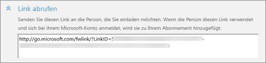 """Screenshot einer Nahaufnahme das Abschnitts """"Link abrufen"""" im Dialogfeld """"Person hinzufügen"""""""