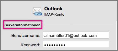 Geben Sie Ihr neues IMAP-Kennwort ein