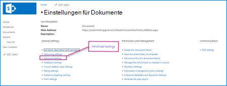 Screenshot der Seite mit Einstellungen in einer SharePoint-Dokumentbibliothek.