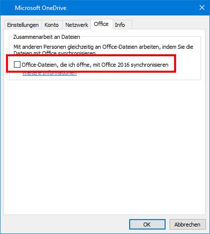 "Registerkarte ""Office Upload"" in OneDrive-Einstellungen"