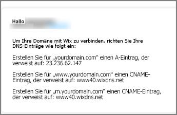 Verwenden Sie in Wix.com diese Einstellungen für DNS-Einträge