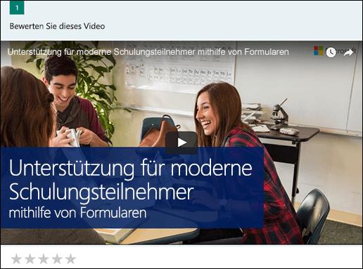 Microsoft Forms-Feld für Einfügen eines YouTube-Videos