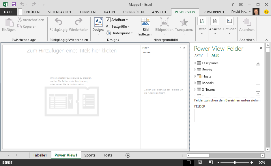 Ein leerer Power View-Bericht in Excel