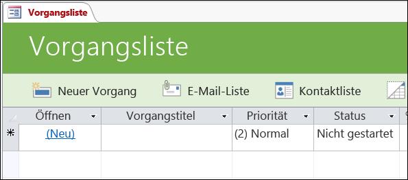 """Formular """"Aufgabenliste"""" in der Access-Datenbankvorlage """"Aufgaben"""""""