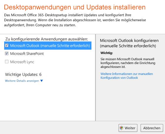 Desktopanwendungen konfigurieren und Updates installieren