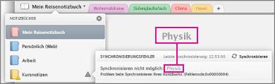 Notizbuchliste mit Synchronisierungsfehler