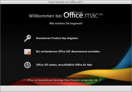 Screenshot der Willkommensseite für Office für Mac2011