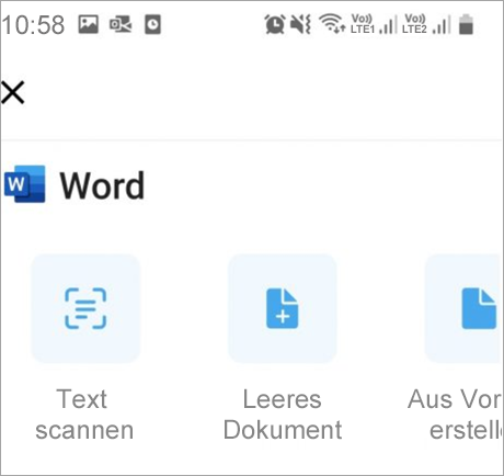 Zeigt Scan in Word an