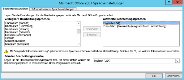 Spracheinstellungen in Office 2007