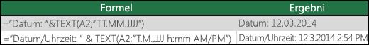 """Beispiele für die Verwendung der TEXT-Funktion zum Formatieren von Datumswerten. =TEXT(A2;""""TT/MM/JJJJ"""")"""