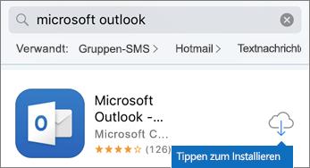 Auf das Cloudsymbol tippen, um Outlook zu installieren