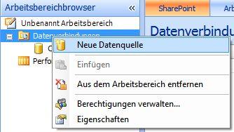 Option 'Neue Datenquelle' im Arbeitsbereichbrowser