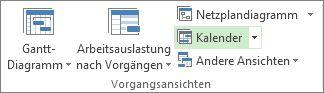 Registerkarte 'Ansicht', Gruppe 'Vorgangsansichten', Schaltfläche 'Kalender'.