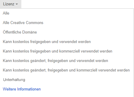 "Dropdown ""Lizenz"" festgelegt auf ""Kostenlos"" zum Ändern, Freigeben und kommerzieller Nutzung"
