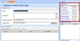 Im Dashboard-Designer werden im Bereich 'Details' die verwandten KPIs einer Scorecard angezeigt, wenn Sie auf die Registerkarte 'Eigenschaften' klicken.