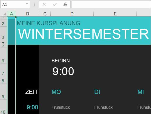 Alte Excel-Vorlage für Studienkurs-Manager ohne Beschreibungen für Elemente.