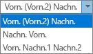Outlook-Optionen für Personen, hier die Listenoptionen für die Namensreihenfolge