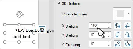 Textfeld mit 3D-Drehung x 180 deg