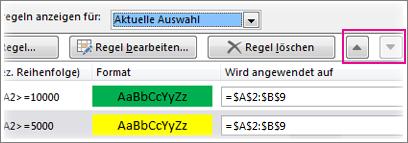 """""""Nach oben""""-/""""Nach unten""""-Pfeile"""