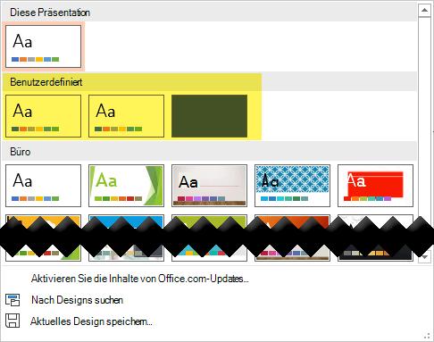 """Auf der Registerkarte """"Entwurf"""" stehen benutzerdefinierte Vorlagen zur Auswahl im benutzerdefinierten Abschnitt des Design Katalogs zur Verfügung."""