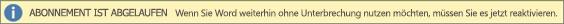 """Zeigt ein Beispiel für das Banner """"Abonnement abgelaufen"""" mit einer Schaltfläche """"Reaktivieren"""""""