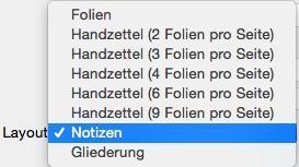"""Layout """"Notizen"""" im Dialogfeld """"Drucken"""" auswählen"""