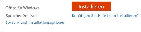 Sprach- und Installationsoptionen für Office 365