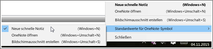 Screenshot der Taskleiste mit OneNote-Optionen.