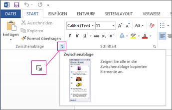 Öffnen der Office-Zwischenablage in Word 2013