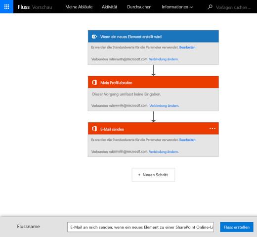 Folgen Sie den Anweisungen auf der MS Flow-Website, um den Fluss (Flow) mit Ihrer SharePoint-Liste zu verbinden.