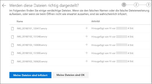 """Screenshot des Bildschirms """"diese Dateien sehen"""" auf der OneDrive-Website"""