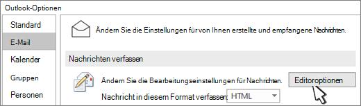 Schaltfläche ' Editor Optionen '