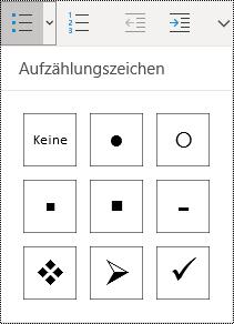 """Im Menüband von OneNote für Windows 10 im Menü """"Start"""" ausgewählte Schaltfläche """"Aufzählung""""."""