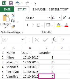 Excel-Arbeitsmappe mit Werten.