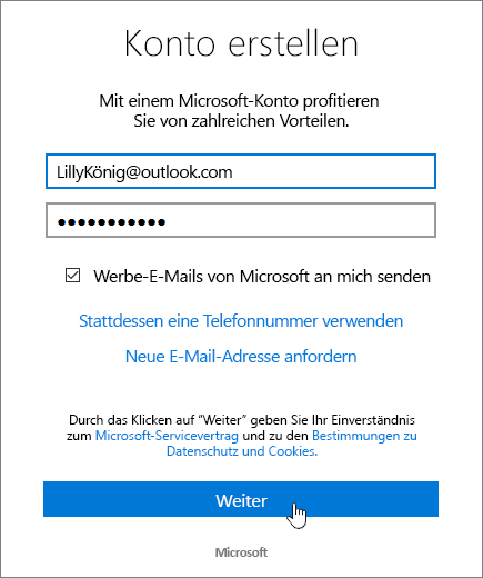 "Screenshot des Dialogfelds ""Microsoft-Konto erstellen""."