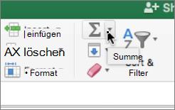 'AutoSumme' auf der Registerkarte 'Start'