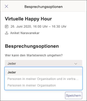 Besprechungsoptionen – Screenshot Mobilgerät