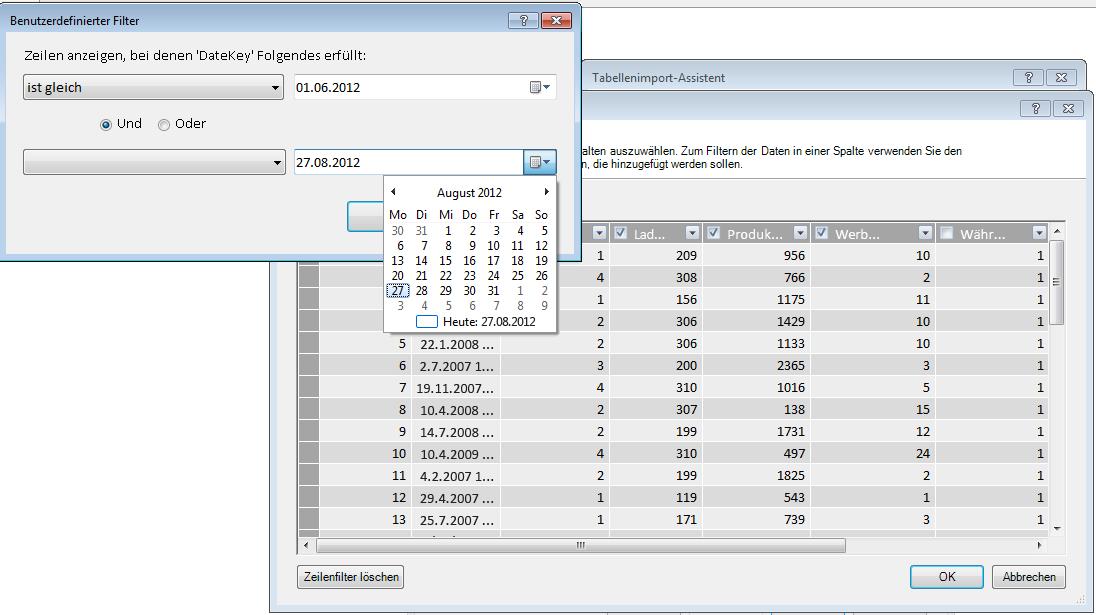 Filterbereich im Tabellenimport-Assistenten