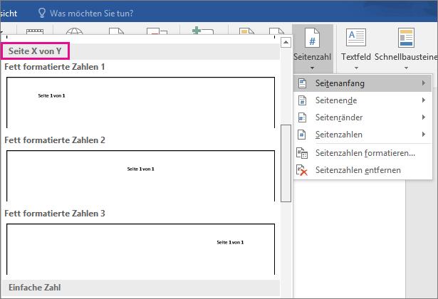 """Scrollen Sie im Katalog der Seitenzahlenformate zu den Formatvorlagen """"Seite X von Y""""."""